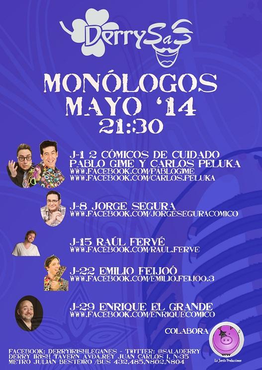 "¡Monólogos ""Derrysas""! Programación de Mayo"