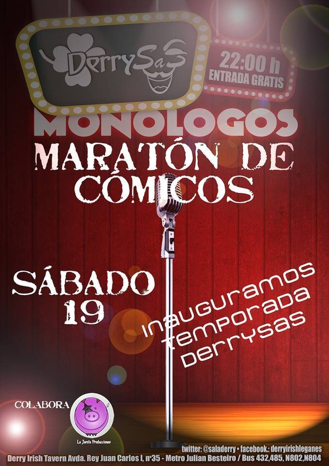 Maratón de Cómicos en Derry Irish Tavern