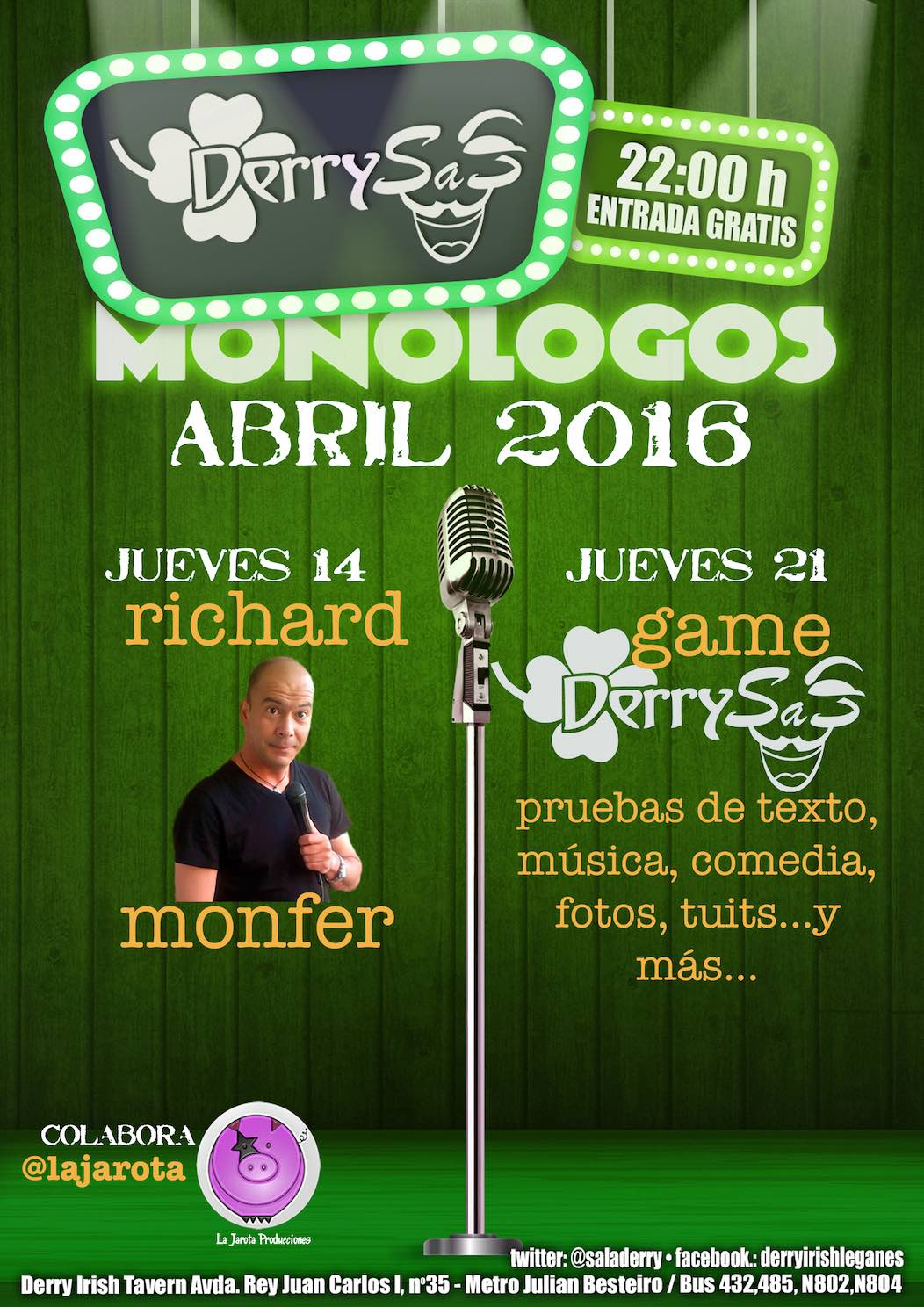 Derry Irish Tavern: Programación Abril 2016